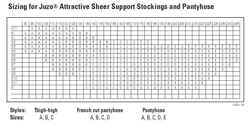 Juzo 5070 Attractive Sheer Size Chart